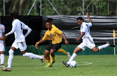 Photo of Tanoa Tusitala Hotel General Manager Jay Krishna playing football
