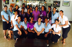 photo of all the women staff at Tanoa Waterfront Hotel, Lautoka, Fiji standing in a group