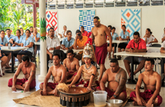 Traditional Samoan culture group performing ceremony at Tanoa Tusitala Hotels new FALA Restaurant opening