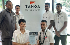 5 male staff members of tanoa waterfront hotel at the start of movember to raise money for prostate cancer